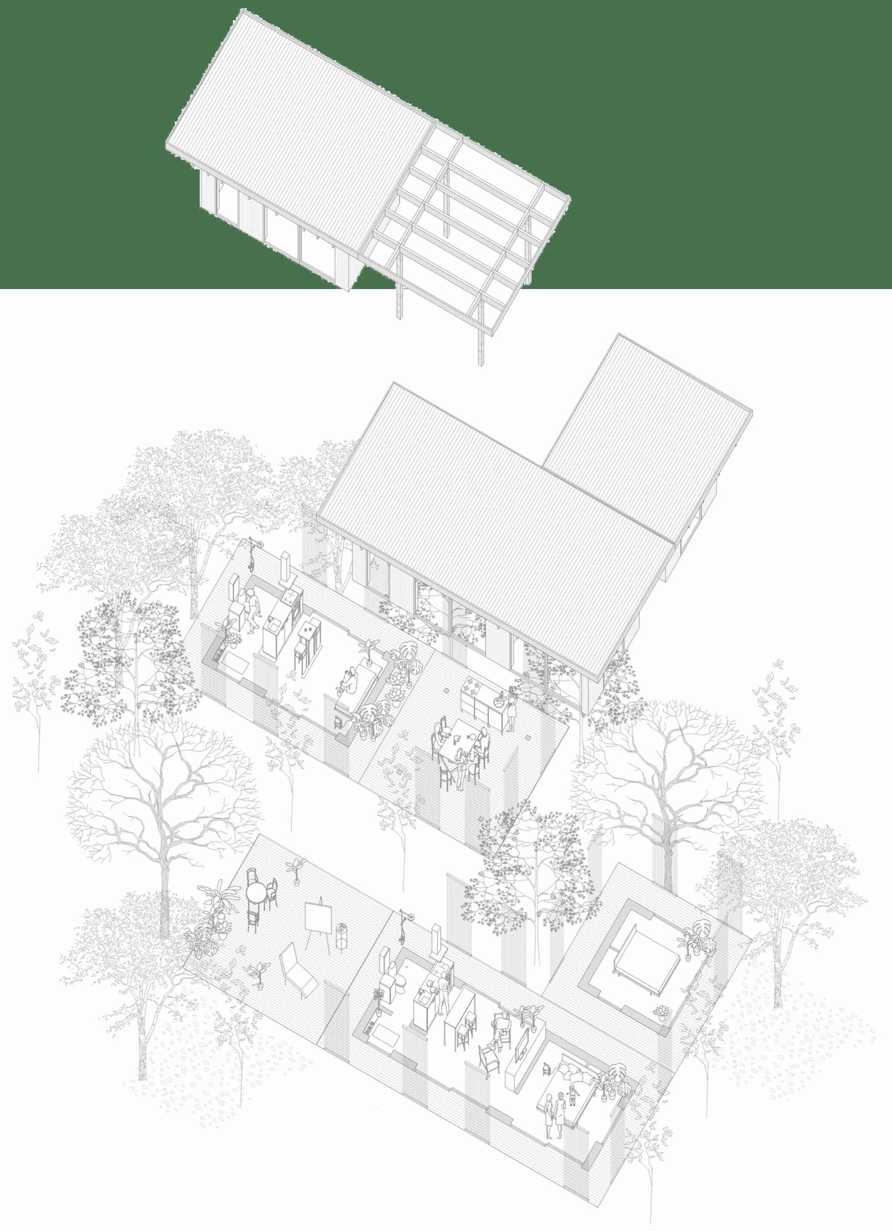 Arkitektritade nyckelfärdiga kombinationshus