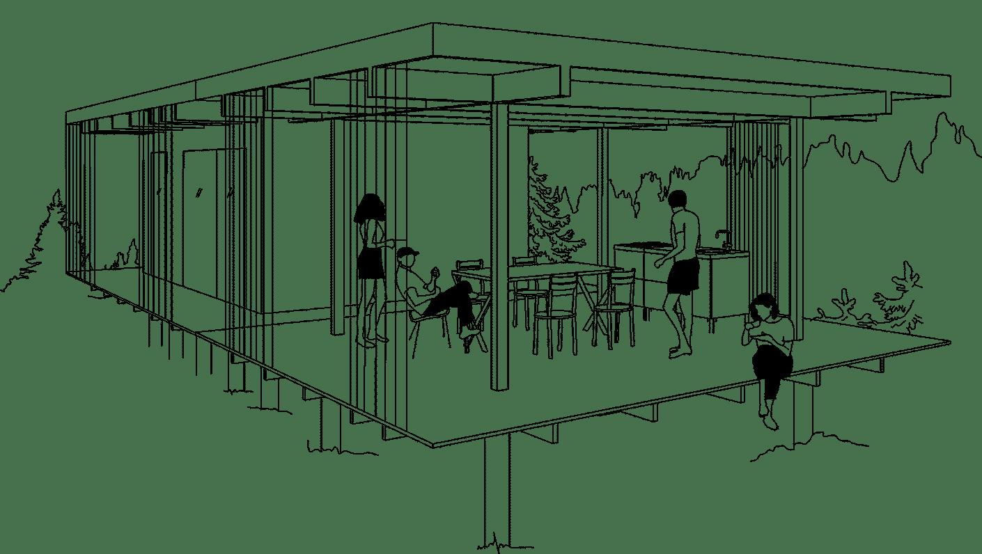 Utemiljö med attefallshus och friggebod