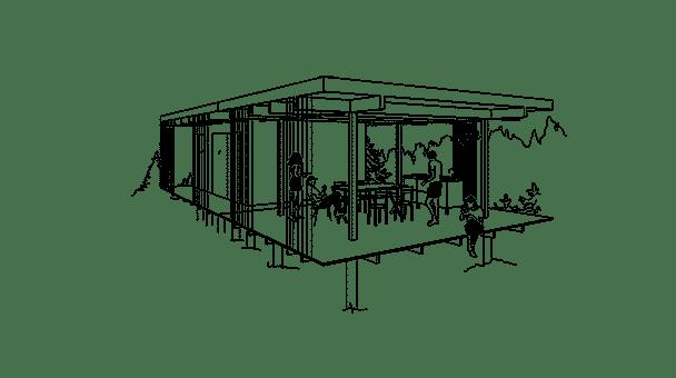 Arkitektritat fritidshus med uteplats