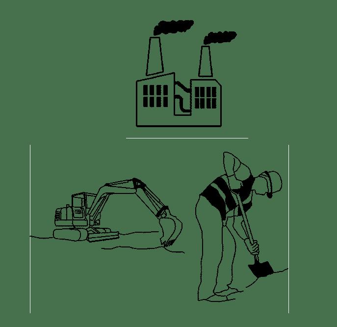Markarbete samt husfabrik