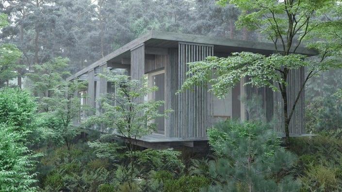 Nyckelfärdigt hus i natur