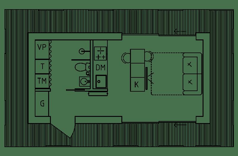 Planlösning attefallshus 30 kvm