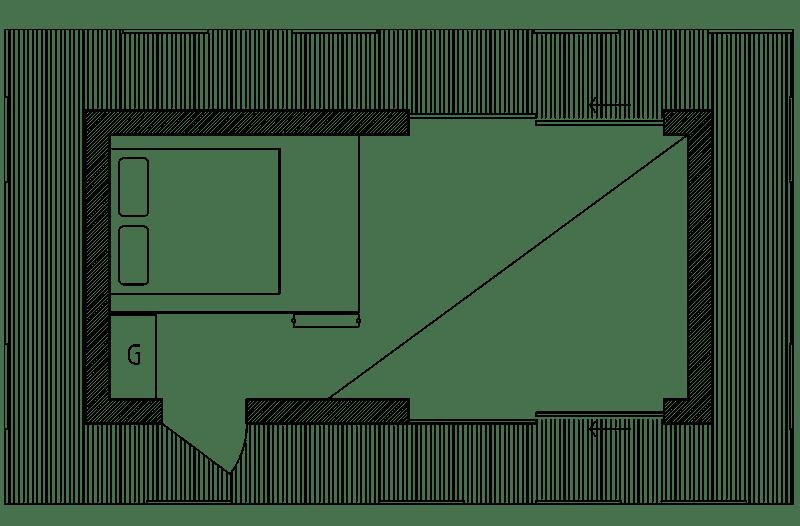 Planlösning loft attefallshus