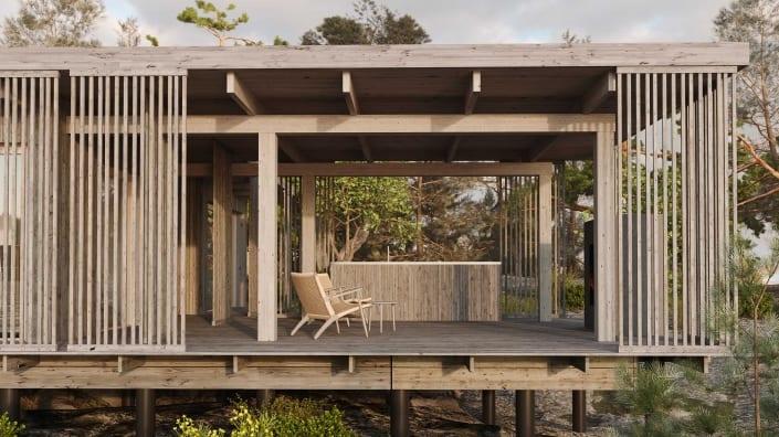 Arkitektritat fritidshus nyckelfärdigt