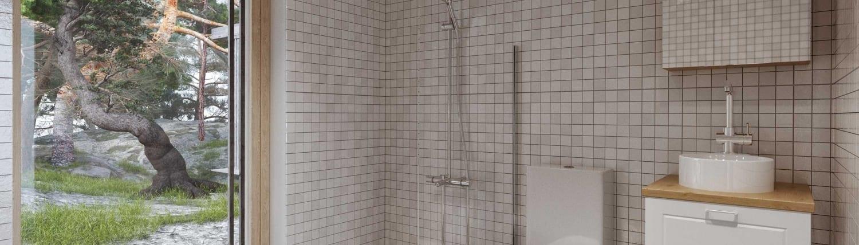 Miljövänligt badrum i Nyckelfärdigt hus
