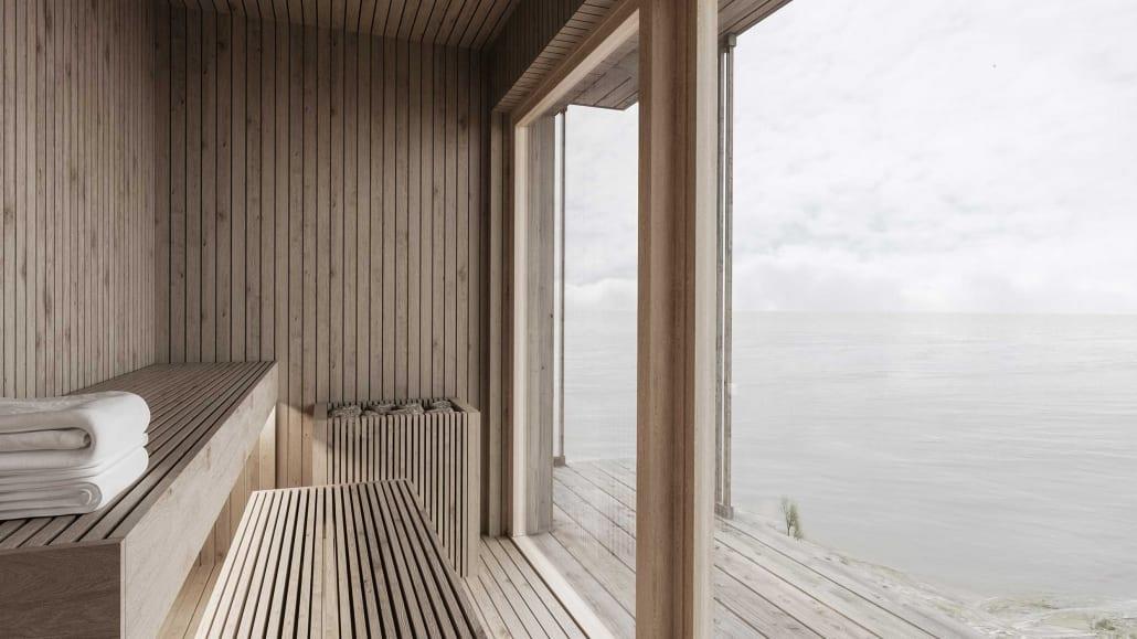 Arkitektritat spa med bastu