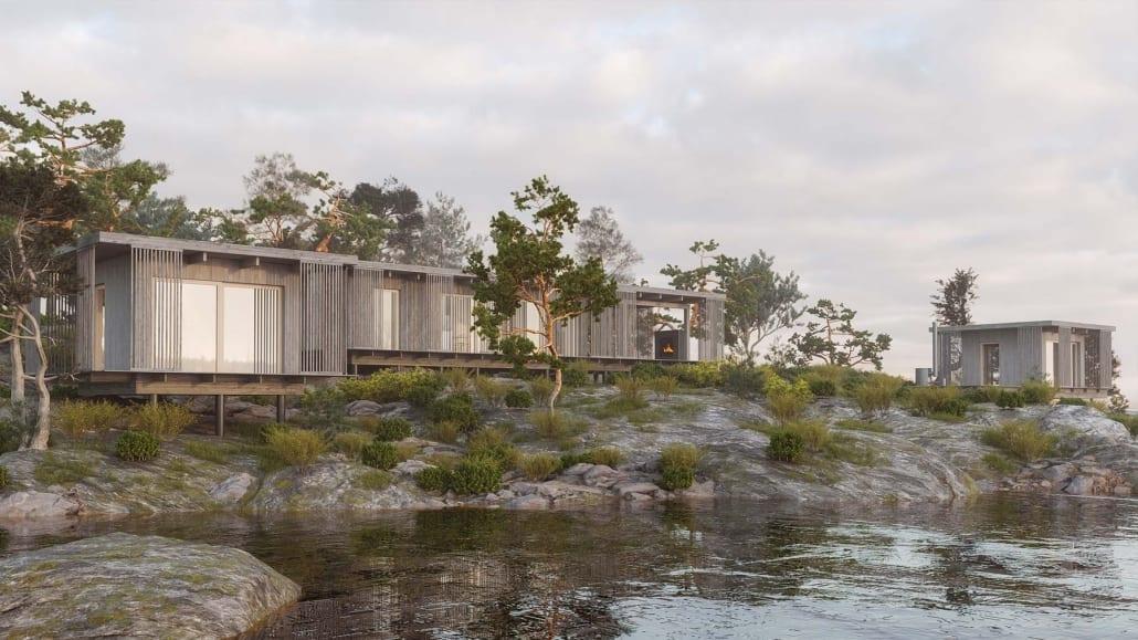 Arkitektritade hus skandinavisk natur